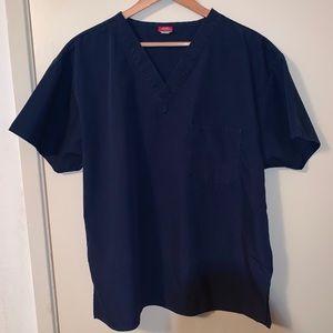 Lot of 2 dark blue scrub tops large